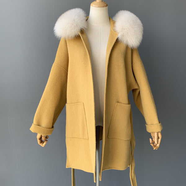 """Mustard Zelie"" Hooded Cashmere Coat"