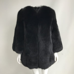 """Black Gaelle"" Fox Fur Coat"