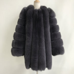 """Dark Grey Grace"" Long Fox Fur Coat"