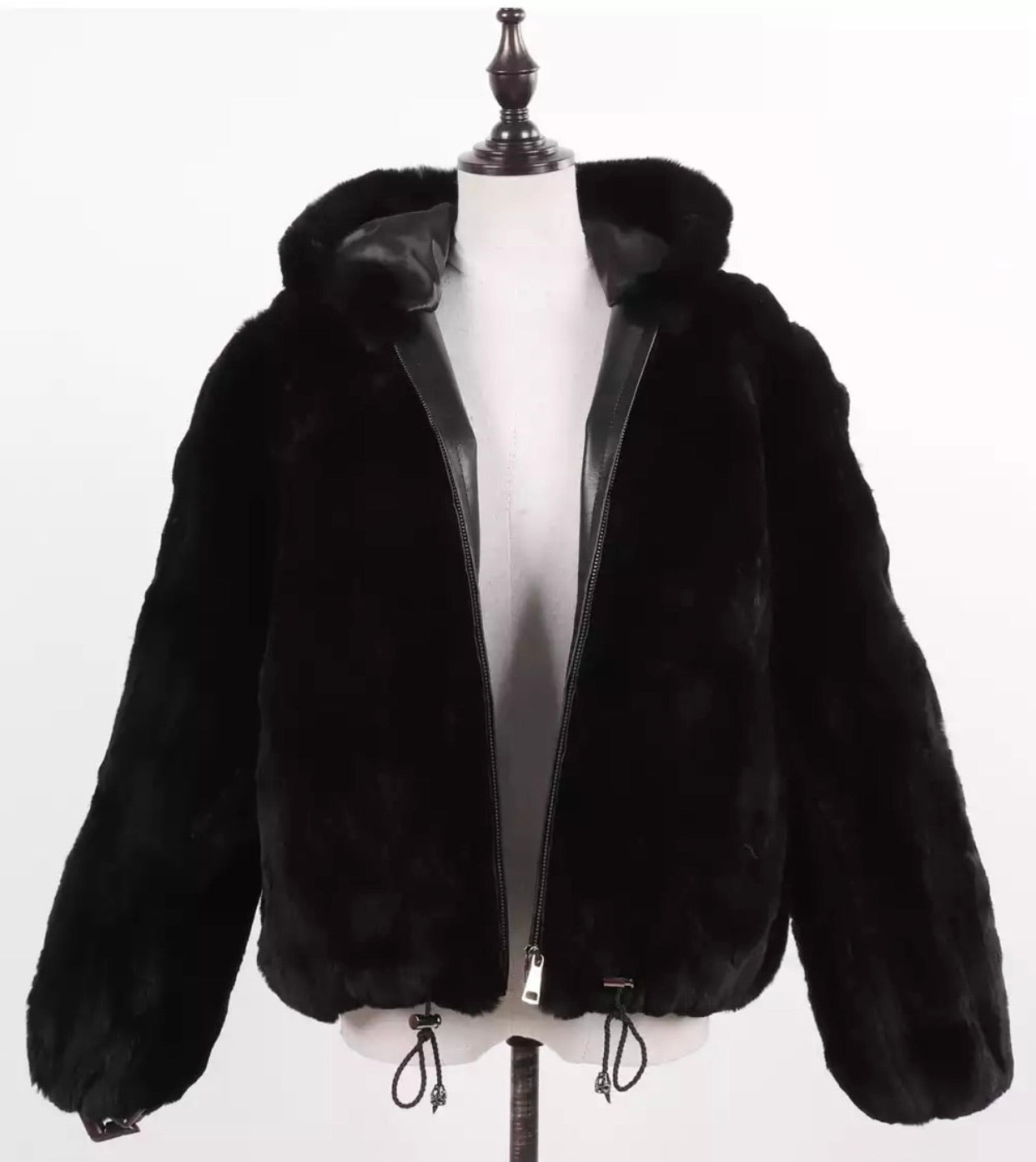 """Lisanne"" Hooded Rex Fur Jacket"