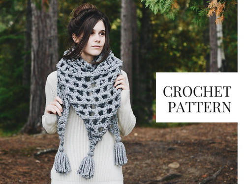 Crochet Pattern: Triangle Tassel Scarf