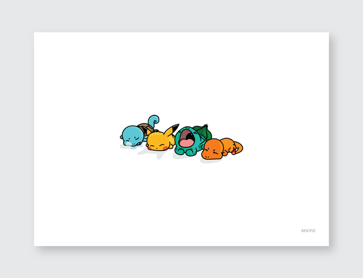 Sleeping Starter Pokemon Print