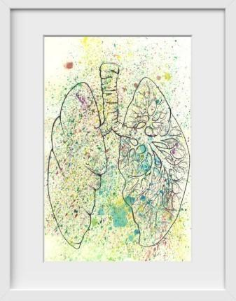 Anatomical Lungs Splatter - 14x16 / White Frame / Buy - Limited Edition Print