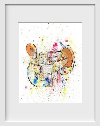 Anatomical Splatter Spleen - 14x16 / White Frame / Buy - Limited Edition Print