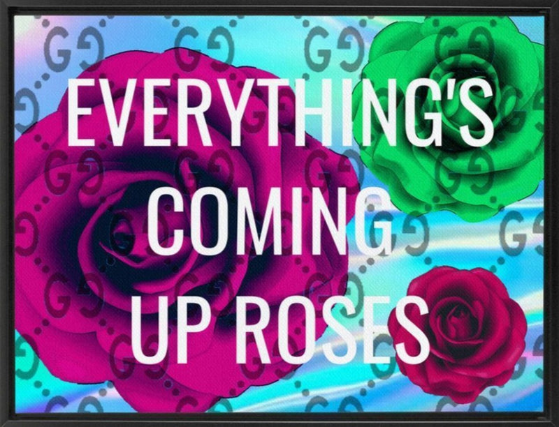 Coming Up Roses - Black - Canvas