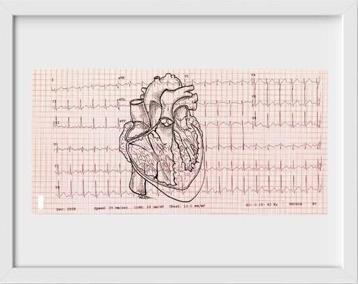 EKG Heart - 22x26 / White Frame / Buy - Limited Edition Print