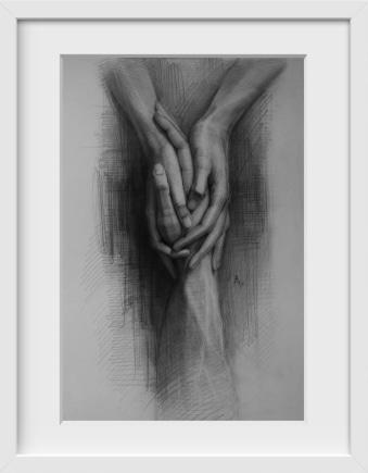 Holding on - 14x16 / White Frame / Buy - Limited Edition Print