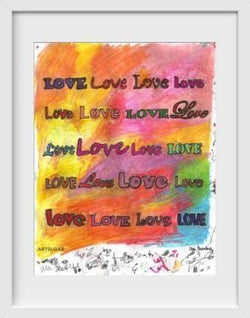 Love Love Love - 14x16 / White Frame / Buy - Limited Edition Print