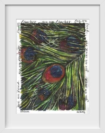 Peacock Feather - 14x16 / White Frame / Buy - Limited Edition Print