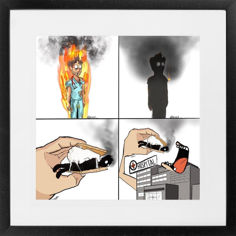 Physician Burnout - 26x26 / Black Frame - Limited Edition Print