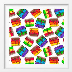 Rainbow Cookies Inspired by Zola Bakes - 14x14 / White Frame / Buy - Limited Edition Print