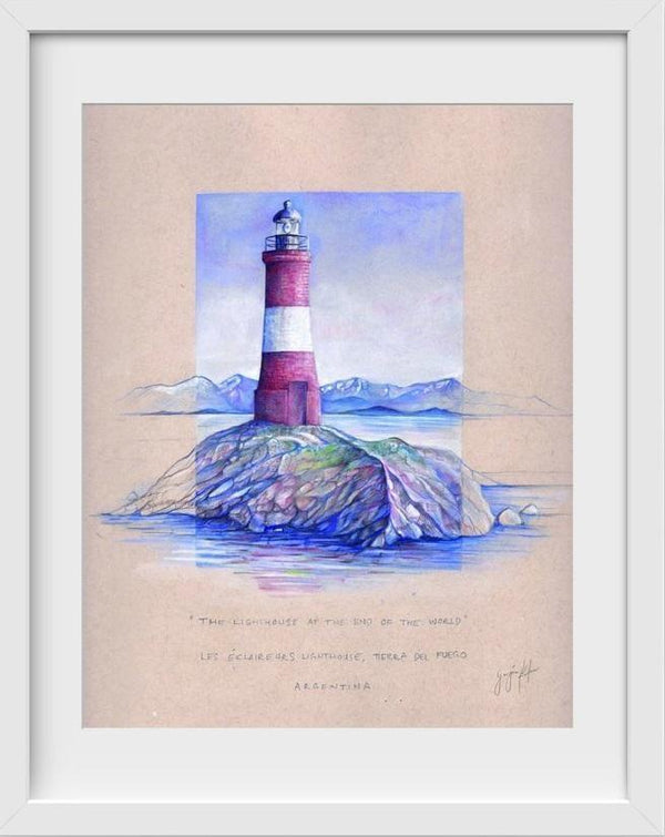 The Lighthouse at the End of the World Argentina - 14x16 / White Frame / Buy - Limited Edition Print