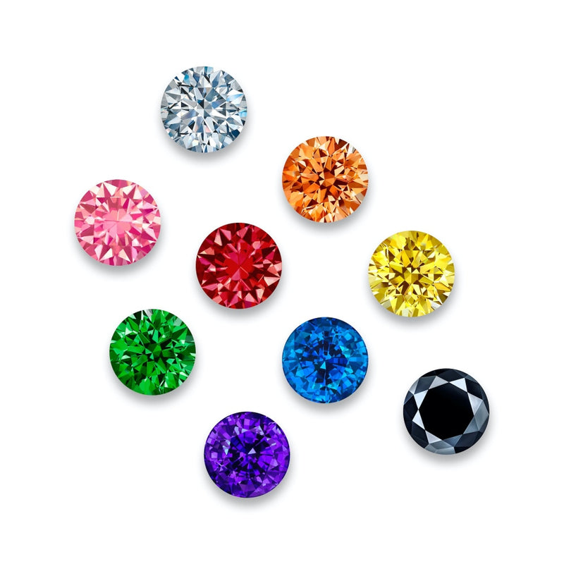 White Black & Colored Gems - 10 inch (set of 9)