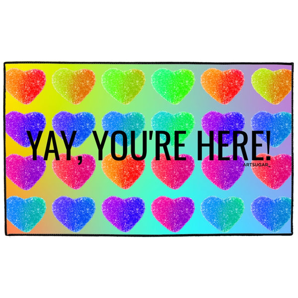 Yay You're Here! ArtSugar Indoor/Outdoor Floor Mat - 36x60 inch