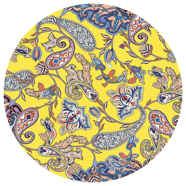 Yellow Paisley | Acrylic Mountable Round - Acrylic Rounds