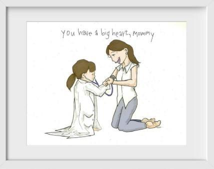 You Have a Big Heart Mommy (brunette) - 14x16 / White Frame / Buy - Limited Edition Print