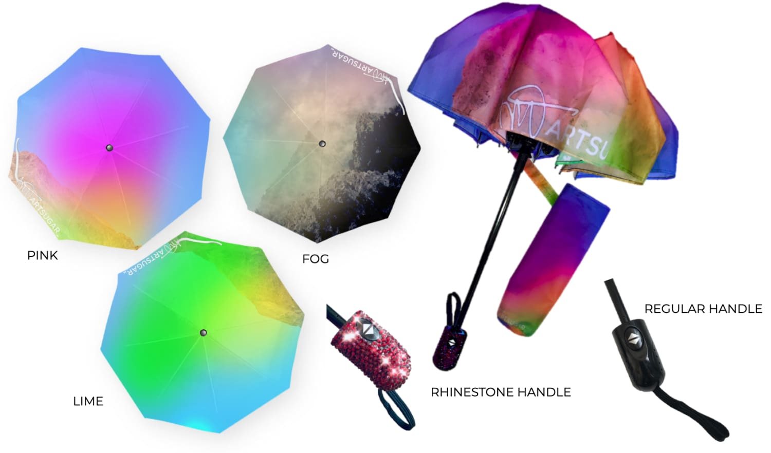 a group of different colored umbrellas