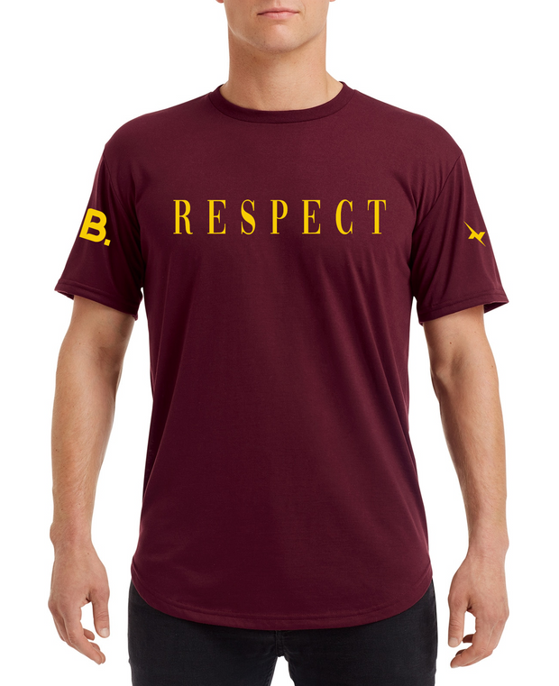 Respect Curve Tee - Burgandy