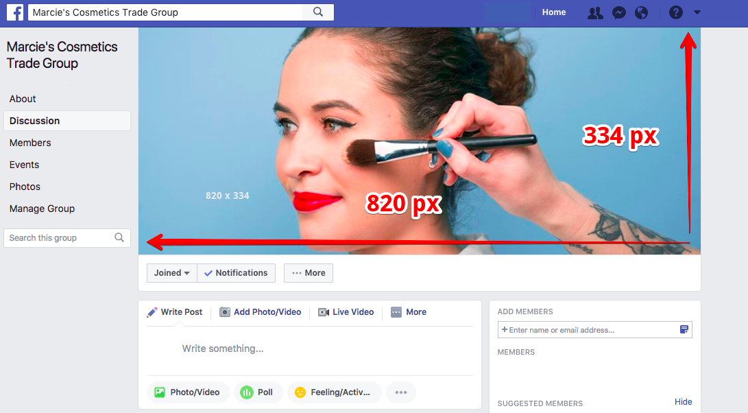 As of 2017, Facebook's group cover photo size has been updated to 820 pixels by 334 pixels