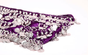 Purple and Silver coin plus hip scarf