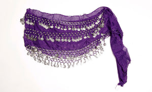 PURPLE HIP SCARF / GOLD & SILVER