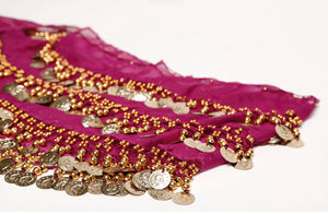 Plum Silver & Gold / Hip Scarf Plus Size