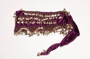 Plum and gold 4x plus velvet hip scarf