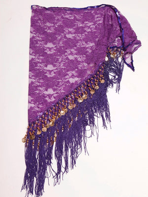 Purple Lace Shawl/Hip Scarf with Gold accents