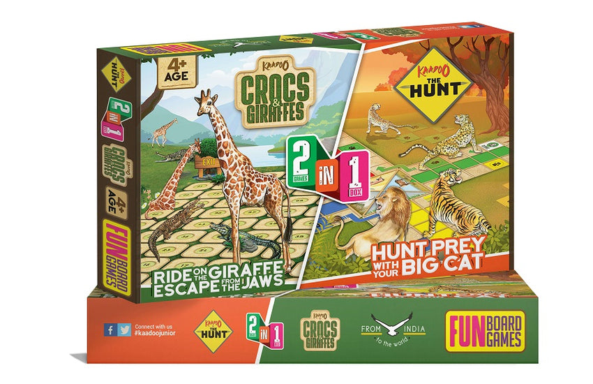 2 in 1 Crocs And Giraffes & The Hunt-Board Game