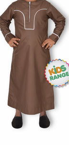 MADINA OMANI BROWN KANDORA / THOBE for KIDS & BOYS by MASHROO - Mashroo