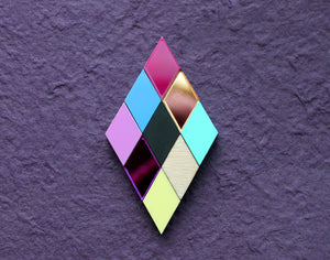 Geometric rainbow diamond brooch