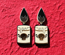 Black flame candle earrings