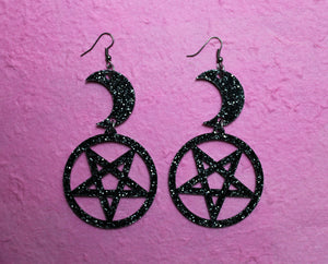 Black glitter moon and pentagram earrings