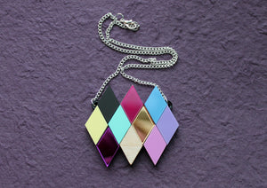 Geometric rainbow diamond necklace