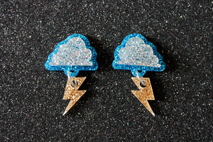 Storm cloud lightning bolt stud earrings
