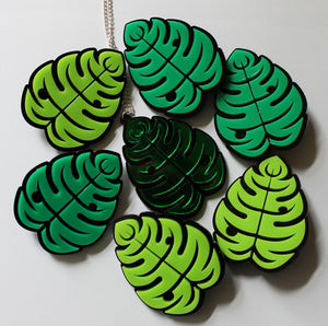 Lime green jungle monstera leaf brooch