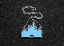 Powder blue and glitter castle necklace