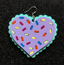 Pastel confetti heart earrings