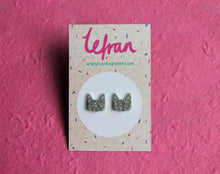 Silver holographic glitter cat stud earrings