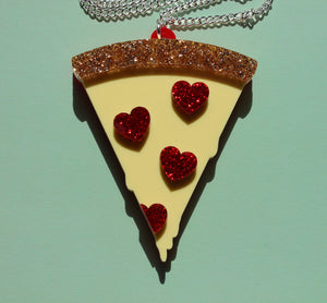 I heart pizza glitter necklace - long chain