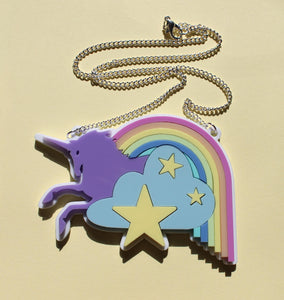 Pastel unicorn and rainbow necklace