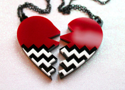 Black lodge chevron broken heart necklace pair