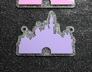 Lilac and glitter castle necklace