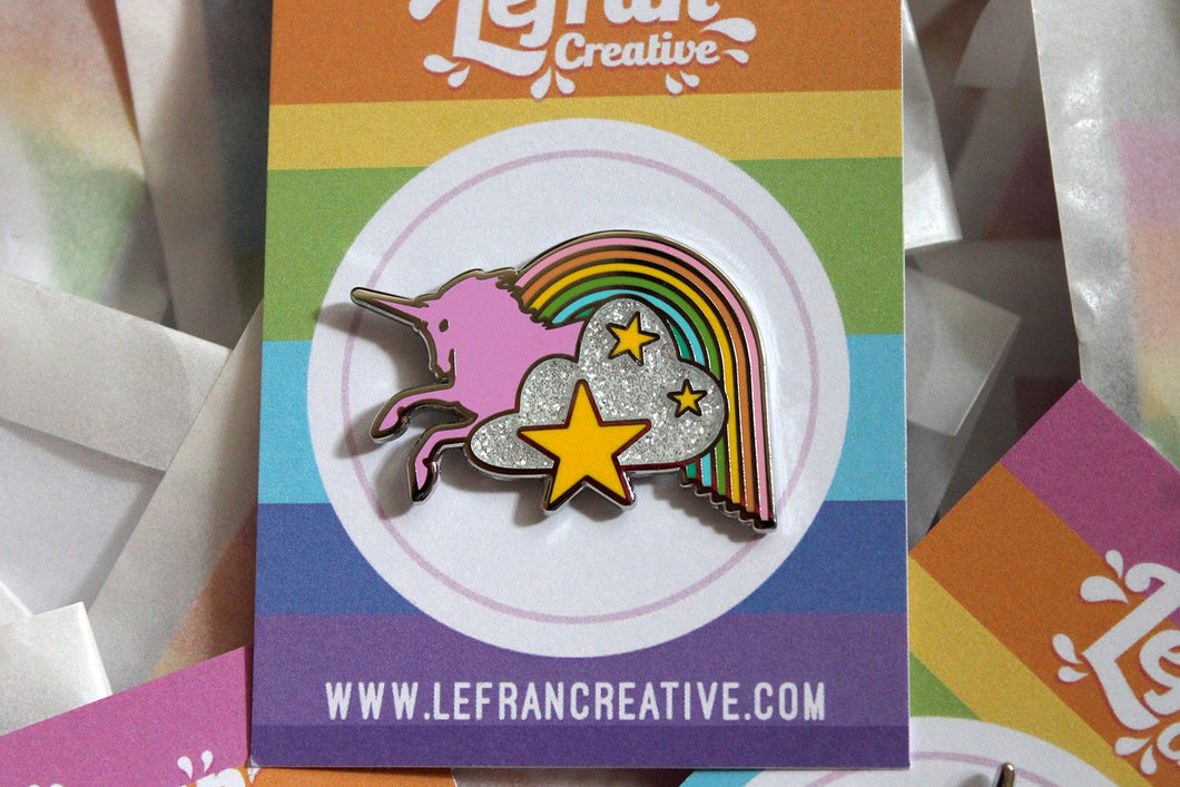 SECONDS Unicorn hard enamel glitter pin