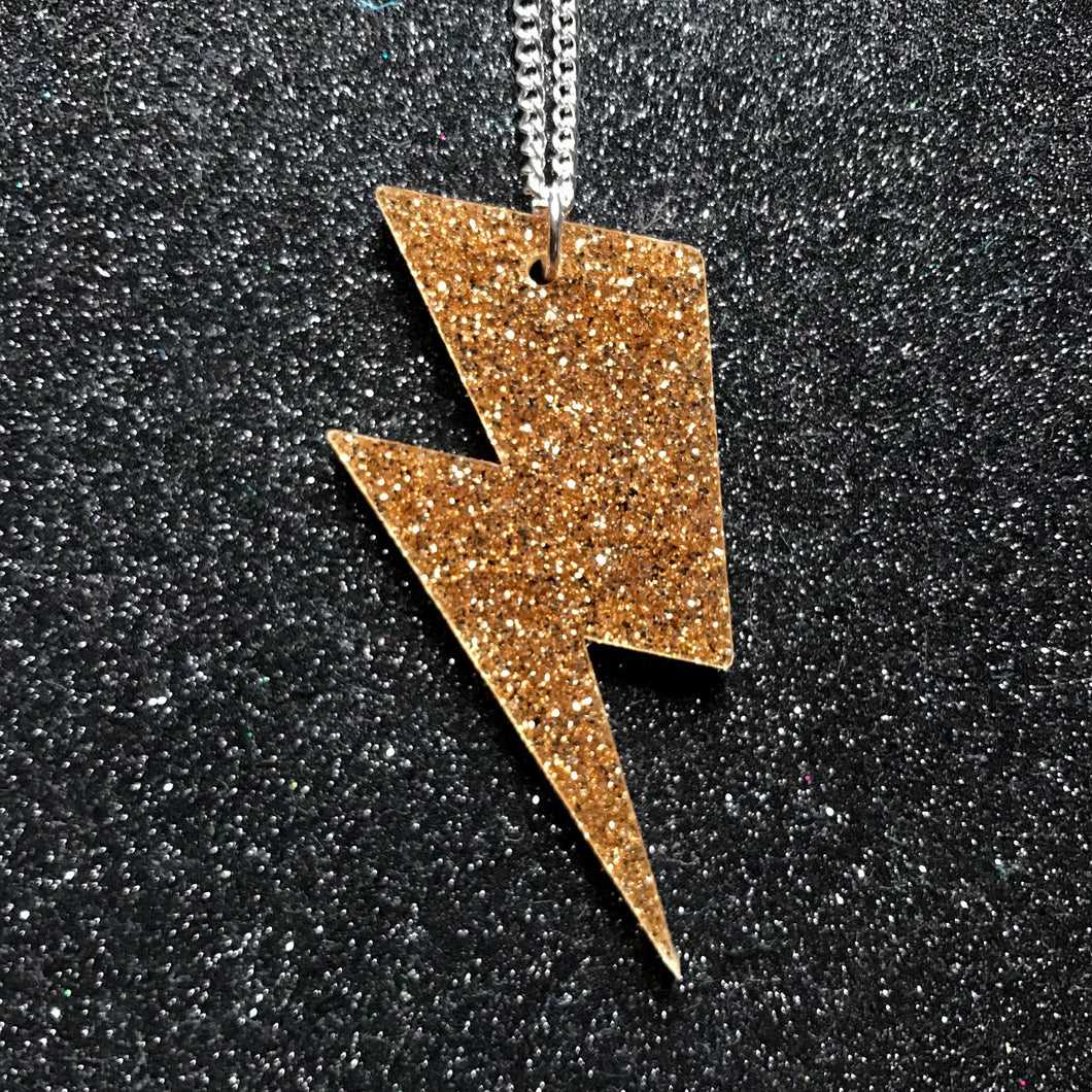 Lightning bolt gold glitter necklace