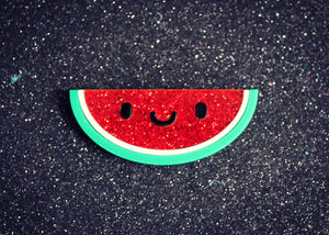 Glitter happy watermelon slice brooch