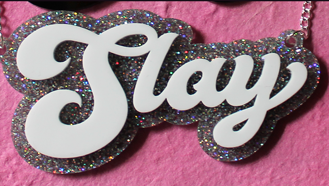 Silver glitter Slay necklace
