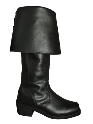 BLACK KNEE-HIGH LEATHER PIRATE BOOTS