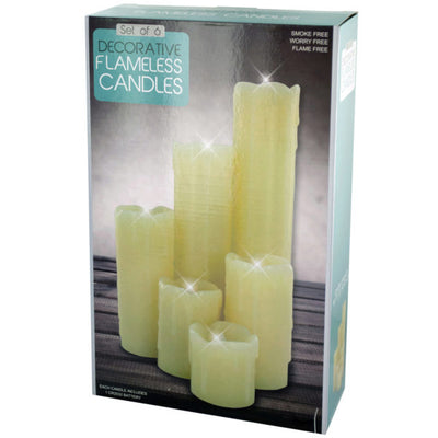 Set of 12 - Decorative Flameless Pillar Candles Sets