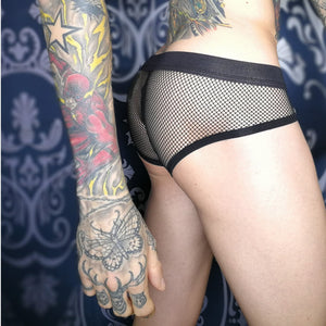 The Nathan Black Matthew Leighton Trew Polyester Mesh Bulge Pouch Mens Underwear See-through Brief